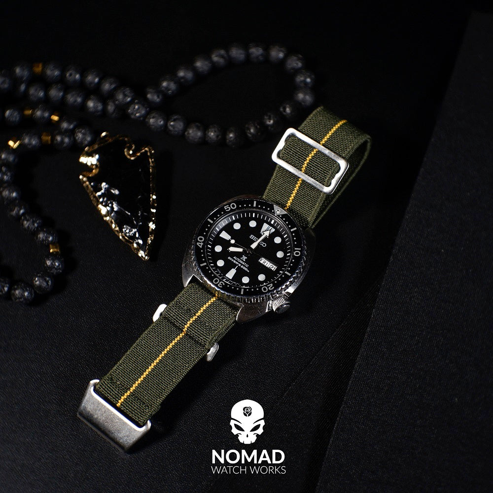 NDC Military Strap in Olive Yellow with Silver Buckle (22mm)