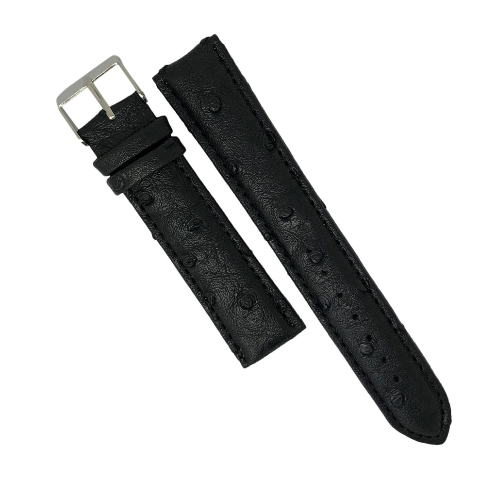 Ostrich Pattern Leather Watch Strap in Black (18mm) - Nomad watch Works