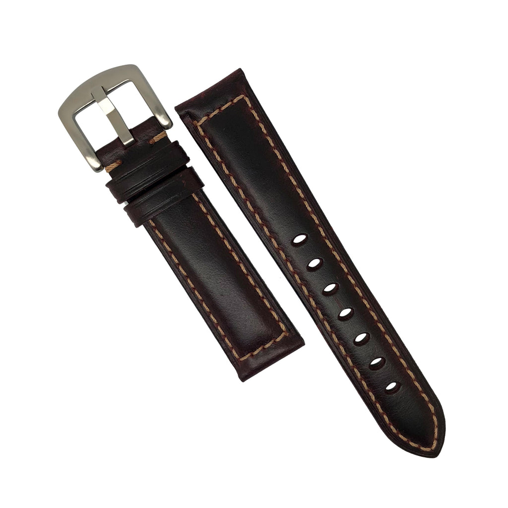 M2 Oil Waxed Leather Watch Strap in Maroon with Silver Buckle (20mm)
