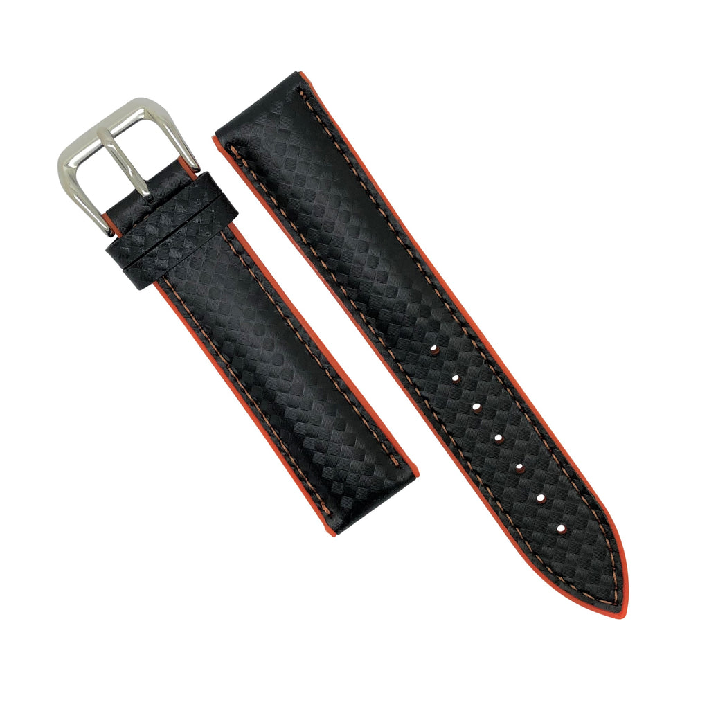 Performax Carbon Embossed Leather Hybrid Strap in Orange Stitching (18mm) - Nomad watch Works