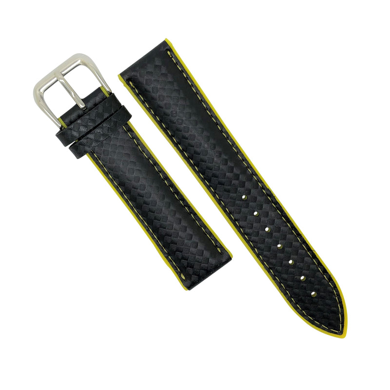 Performax Carbon Embossed Leather Hybrid Strap in Yellow Stitching (18mm) - Nomad watch Works