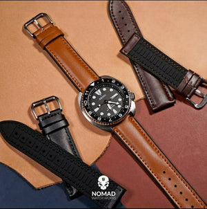 Performax Classic Leather Hybrid Strap in Black (18mm) - Nomad watch Works