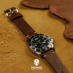 Premium Vintage Oil Waxed Leather Watch Strap in Tan (22mm) - Nomad watch Works