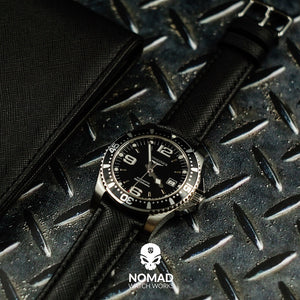 Premium Saffiano Leather Strap in Black (20mm) - Nomad watch Works