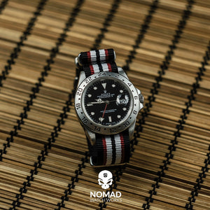 Premium Nato Strap in Black Red White with Polished Silver Buckle (20mm) - Nomad watch Works