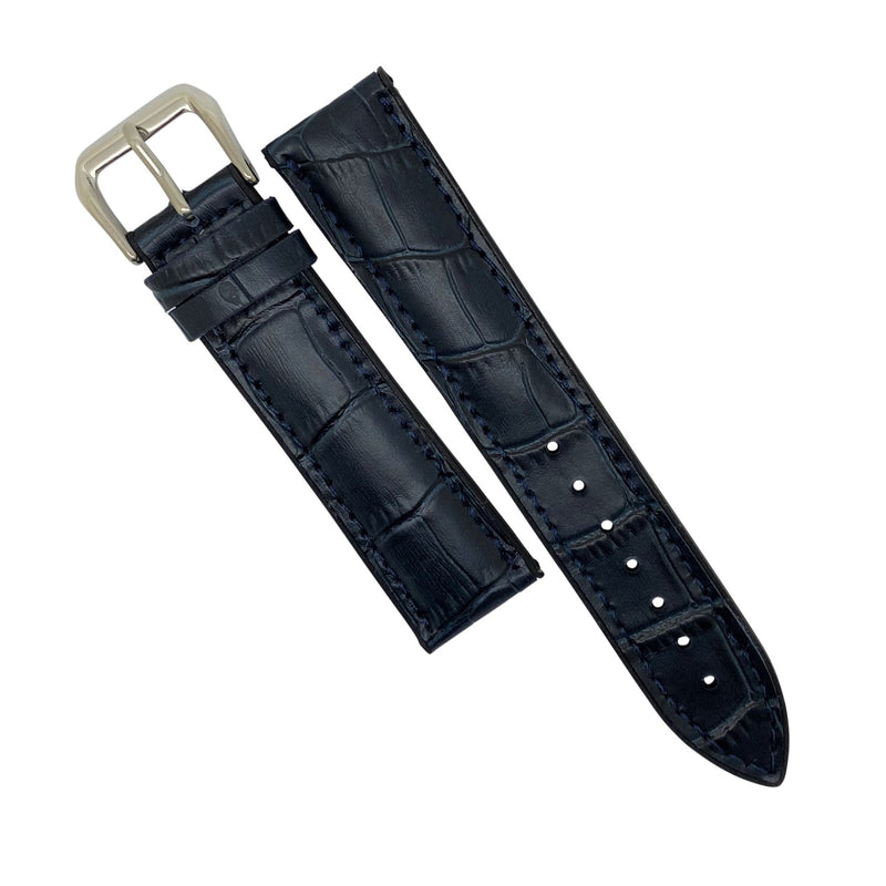 Performax Croc Pattern Leather Hybrid Strap in Navy (22mm) - Nomad watch Works
