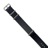 Premium Leather Nato Strap in Navy with Silver Buckle (22mm) - Nomad watch Works
