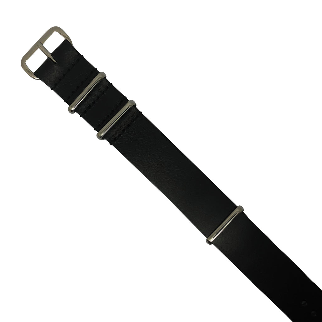 Premium Leather Nato Strap in Black with Silver Buckle (20mm) - Nomad watch Works