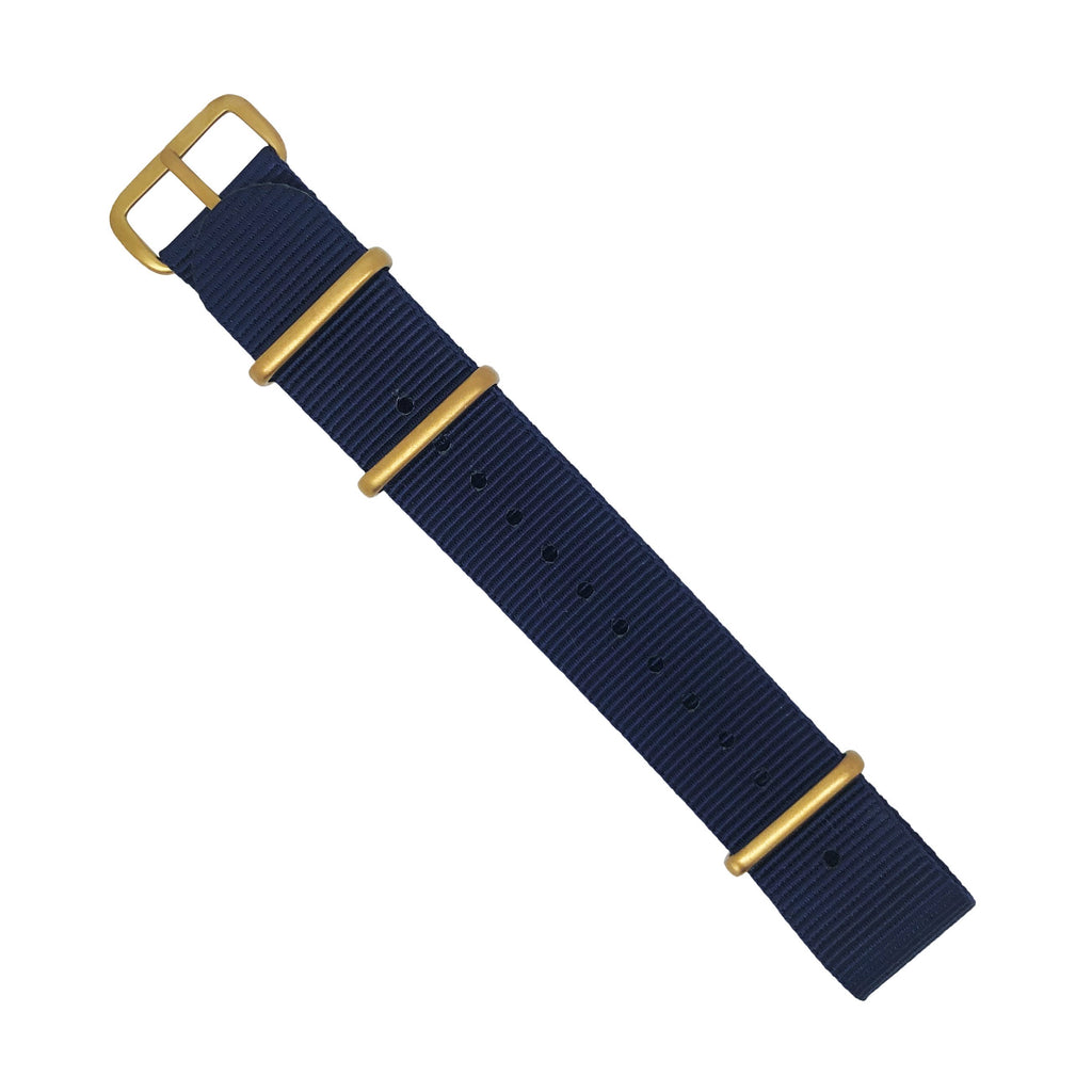 Premium Nato Strap in Navy with Bronze Buckle (22mm)