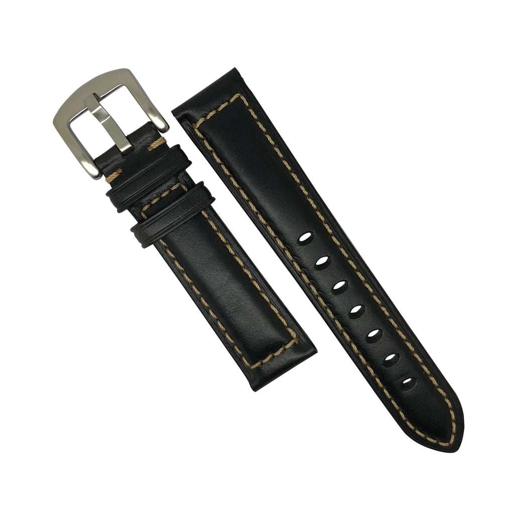 M2 Oil Waxed Leather Watch Strap in Black with Silver Buckle (20mm) - Nomadstore Singapore