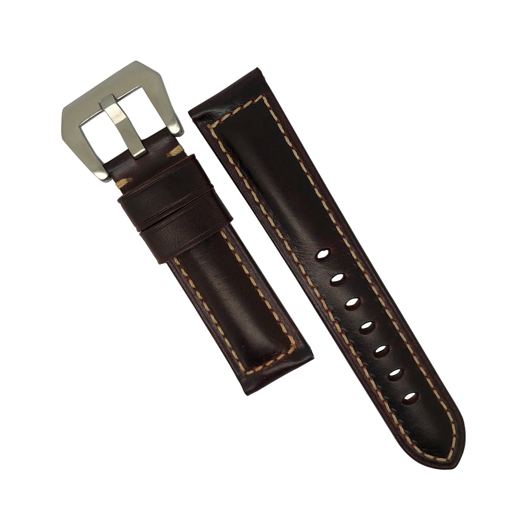 M2 Oil Waxed Leather Watch Strap in Brown with Pre-V Silver Buckle (24mm) - Nomadstore Singapore