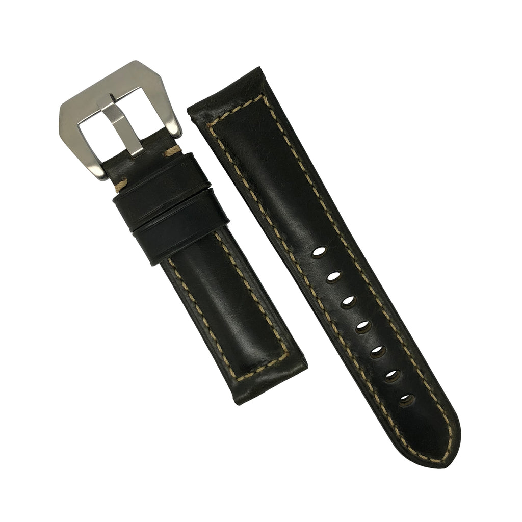 M2 Oil Waxed Leather Watch Strap in Olive with Pre-V Silver Buckle (24mm)