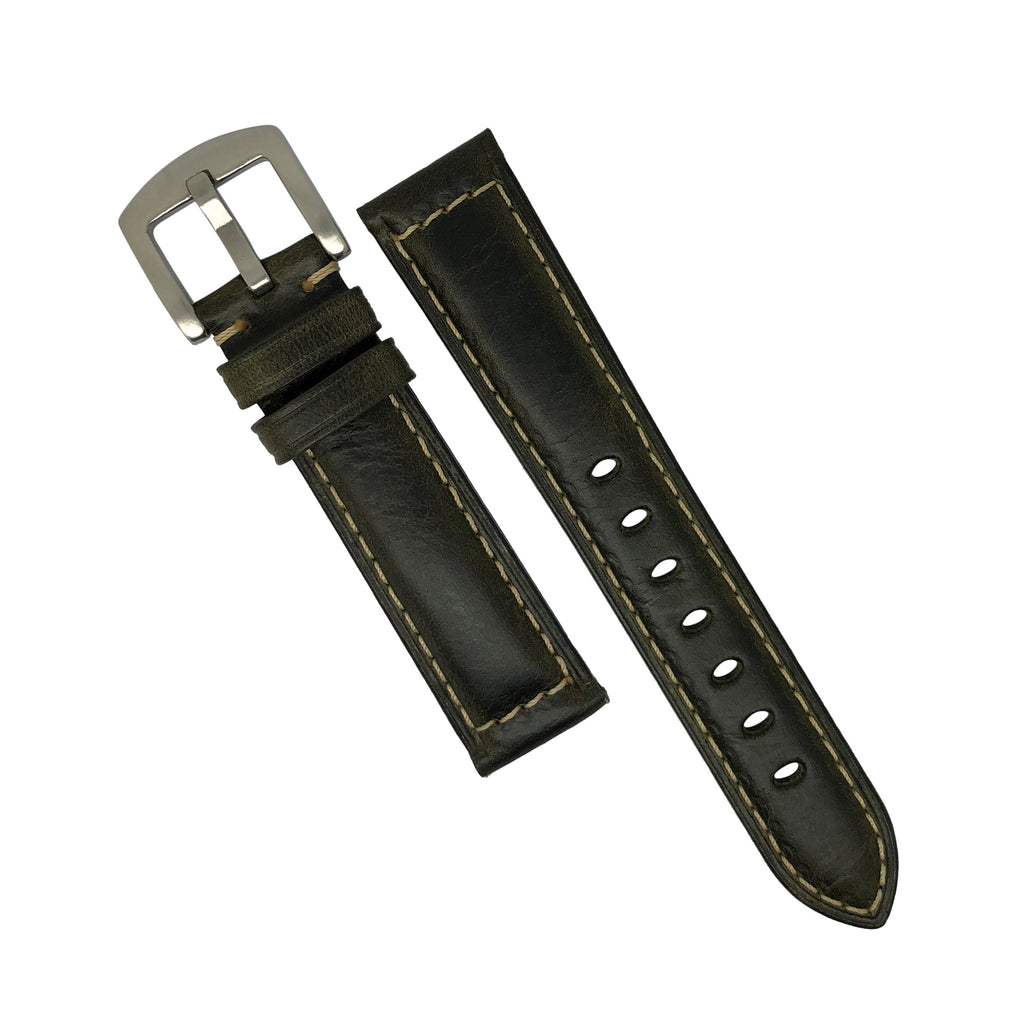 M2 Oil Waxed Leather Watch Strap in Olive with Silver Buckle (20mm)