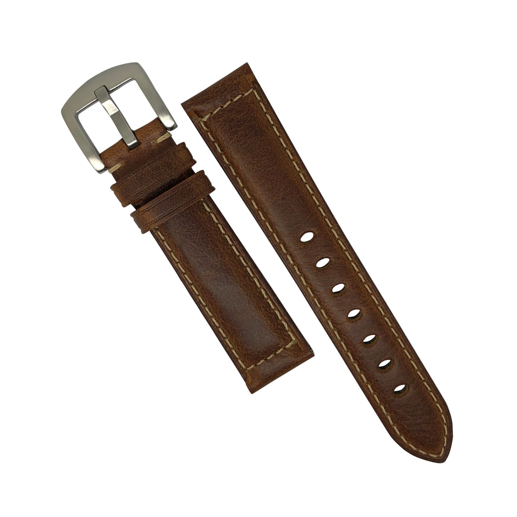 M2 Oil Waxed Leather Watch Strap in Tan with Silver Buckle (20mm)