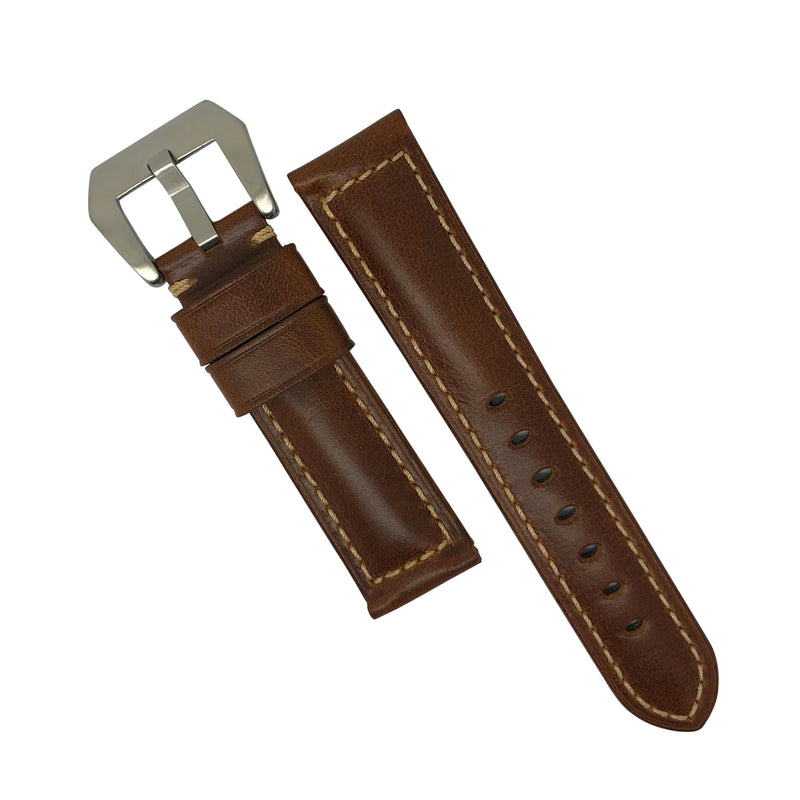 M2 Oil Waxed Leather Watch Strap in Tan (24mm) - Nomad watch Works