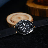 Premium Vintage Oil Waxed Leather Watch Strap in Black (18mm)