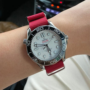 Premium Nato Strap in Red with Polished Silver Buckle (22mm) - Nomad watch Works