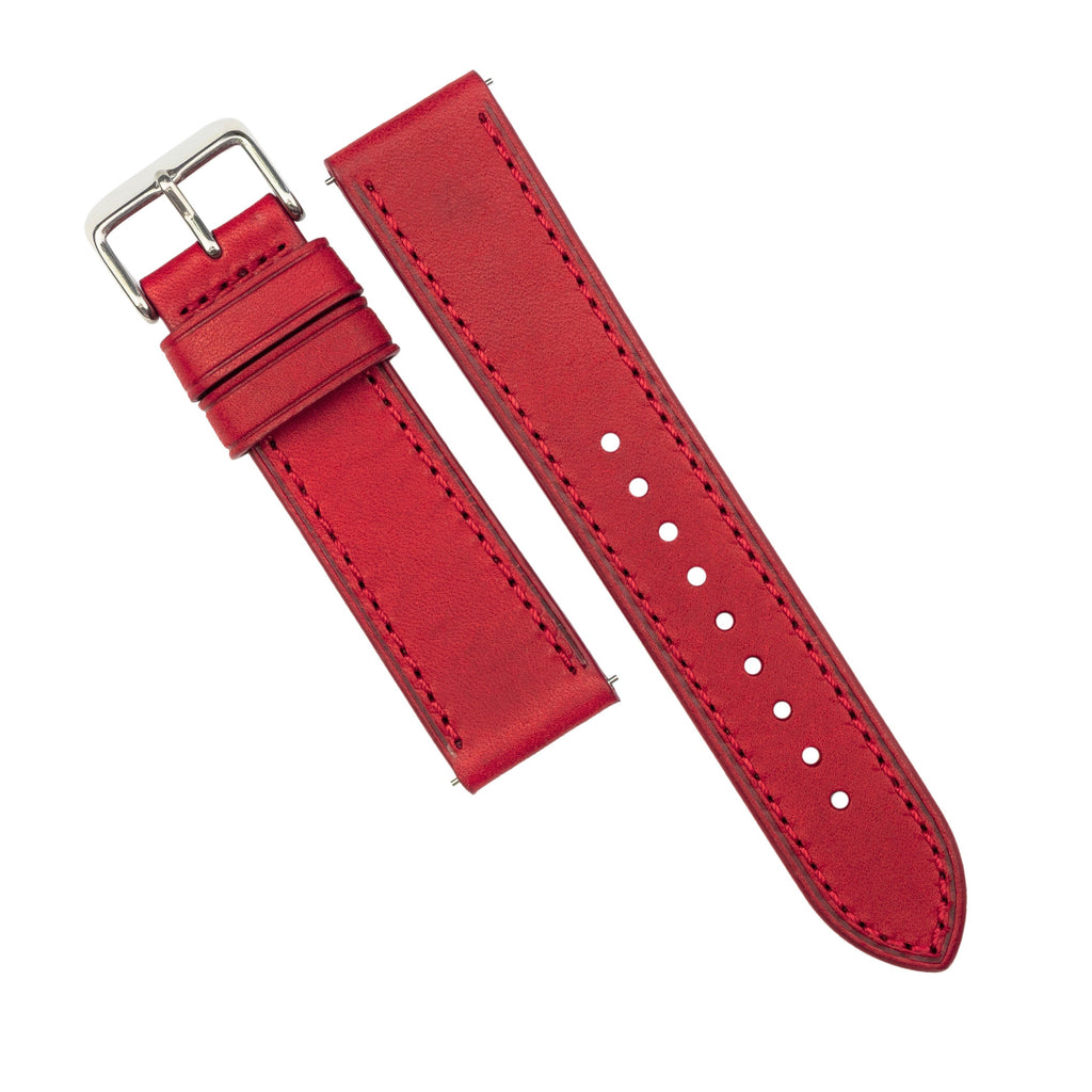 Emery Signature Pueblo Leather Strap in Red (22mm) - Nomad Watch Works SG