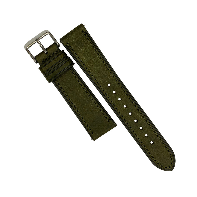 Emery Signature Pueblo Leather Strap in Olive (18mm) - Nomad watch Works