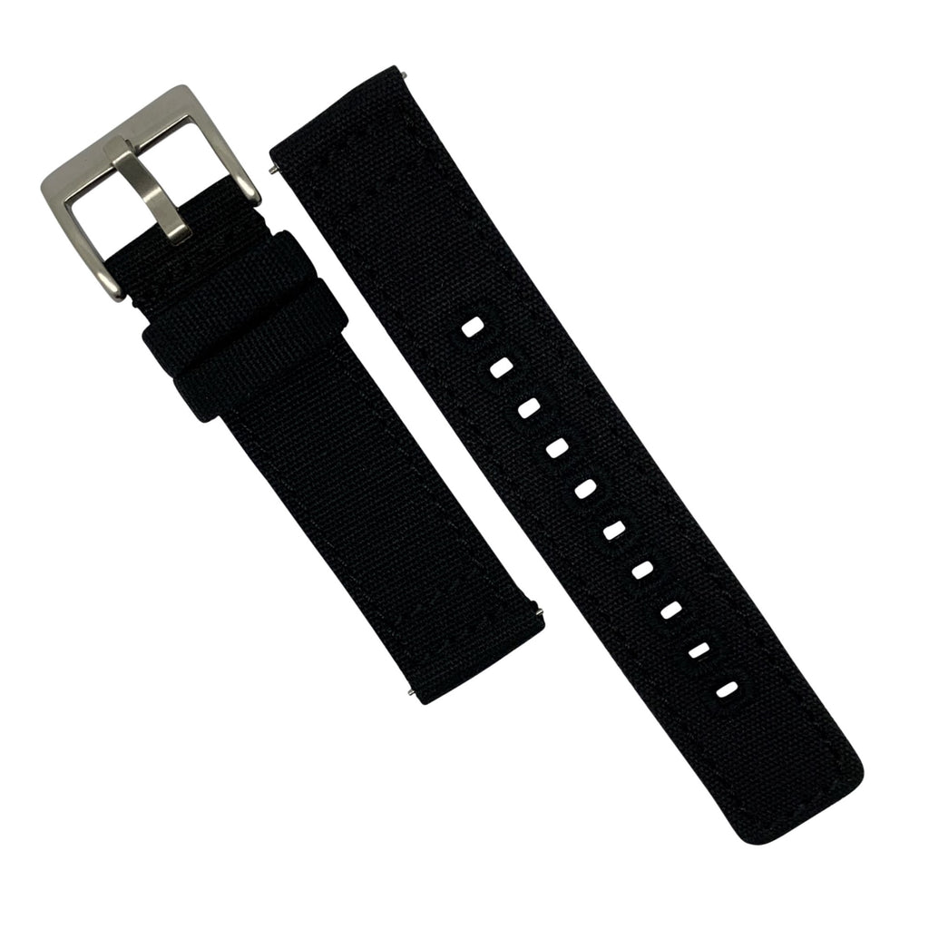 Quick Release Canvas Watch Strap in Black with Brushed Silver Buckle (20mm)