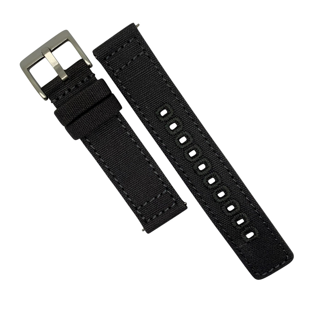Quick Release Canvas Watch Strap in Grey with Brushed Silver Buckle (22mm)