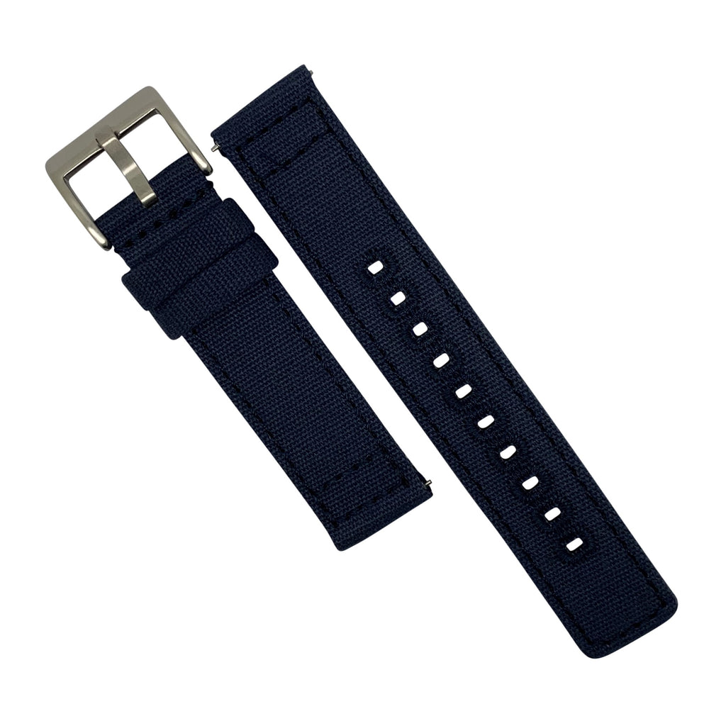 Quick Release Canvas Watch Strap in Navy with Brushed Silver Buckle (22mm)
