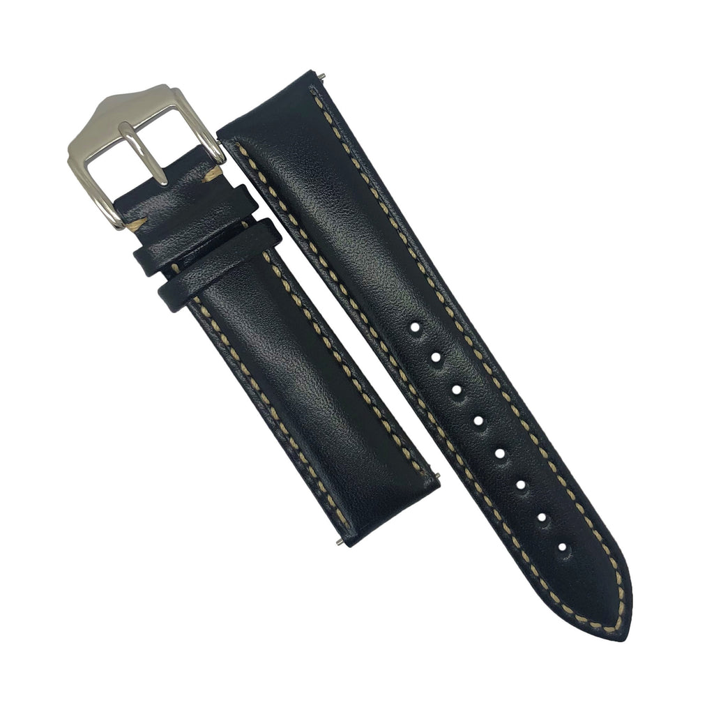Quick Release Classic Leather Watch Strap in Black (20mm) - Nomad watch Works