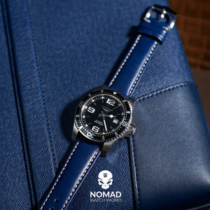 Quick Release Classic Leather Watch Strap in Navy (22mm) - Nomad watch Works