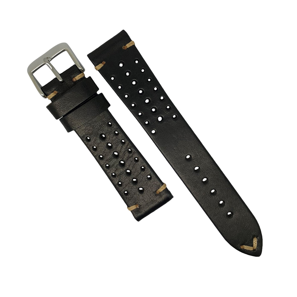 Premium Rally Leather Watch Strap in Black (18mm)