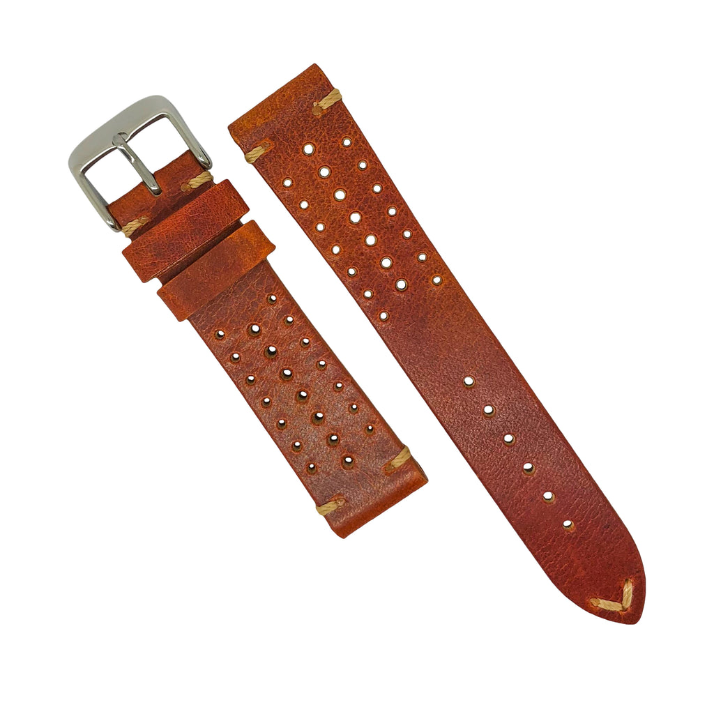 Premium Rally Leather Watch Strap in Tan (20mm) - Nomad watch Works