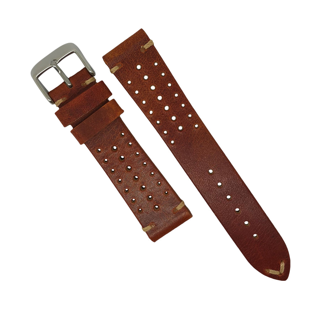 Premium Rally Leather Watch Strap in Tan (18mm) - Nomad watch Works