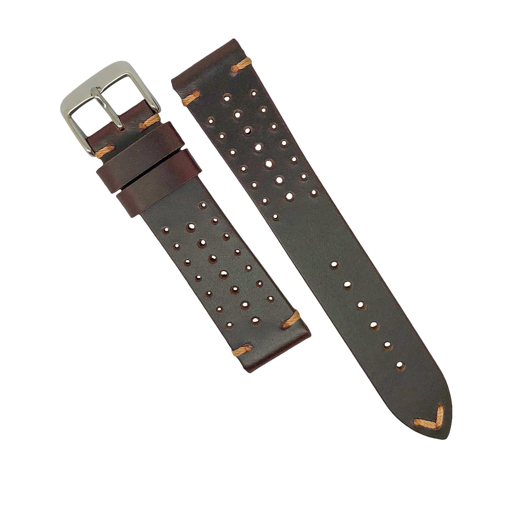 Premium Rally Leather Watch Strap in Brown (22mm) - Nomad watch Works