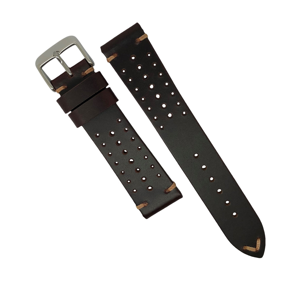 Premium Rally Leather Watch Strap in Brown (18mm) - Nomad watch Works
