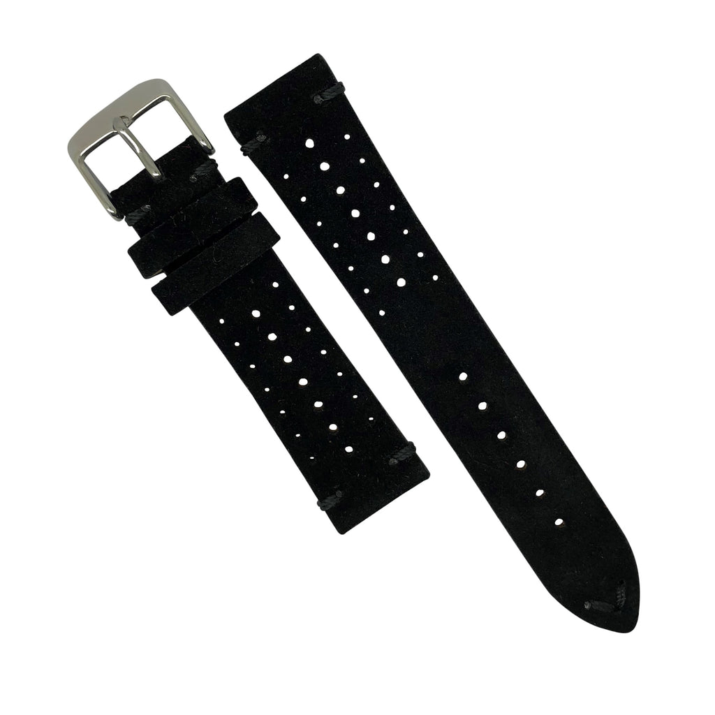 Premium Rally Suede Leather Watch Strap in Black (20mm) - Nomad watch Works