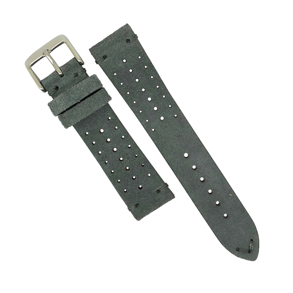 Premium Rally Suede Leather Watch Strap in Grey (22mm)