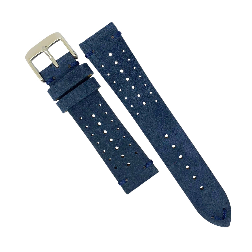 Premium Rally Suede Leather Watch Strap in Navy (22mm)