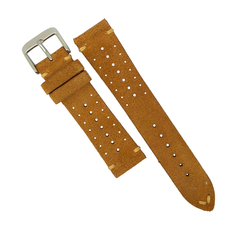 Premium Rally Suede Leather Watch Strap in Tan (22mm)
