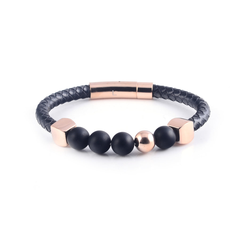 Lava Leather Bracelet in Rose Gold (Size L)
