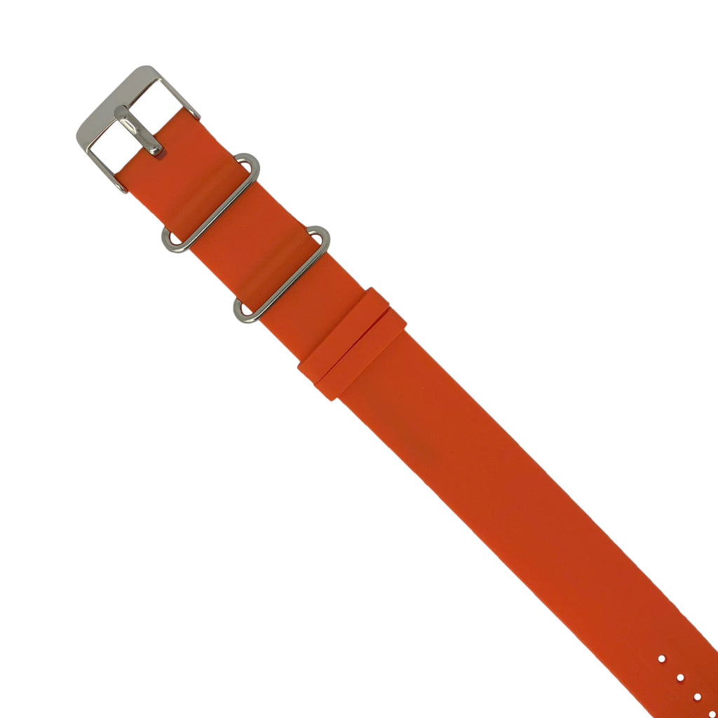 Rubber Nato Strap in Orange with Silver Buckle (22mm) - Nomad watch Works