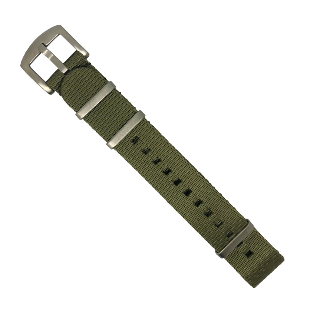 Seat Belt Nato Strap in Olive with Brushed Silver Buckle (20mm)