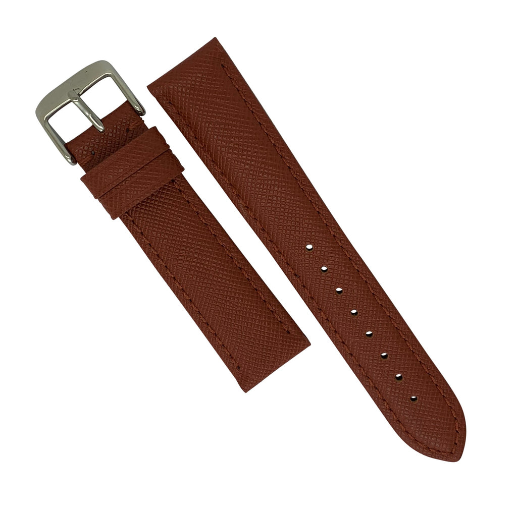Premium Saffiano Leather Strap in Brown (22mm) - Nomad watch Works