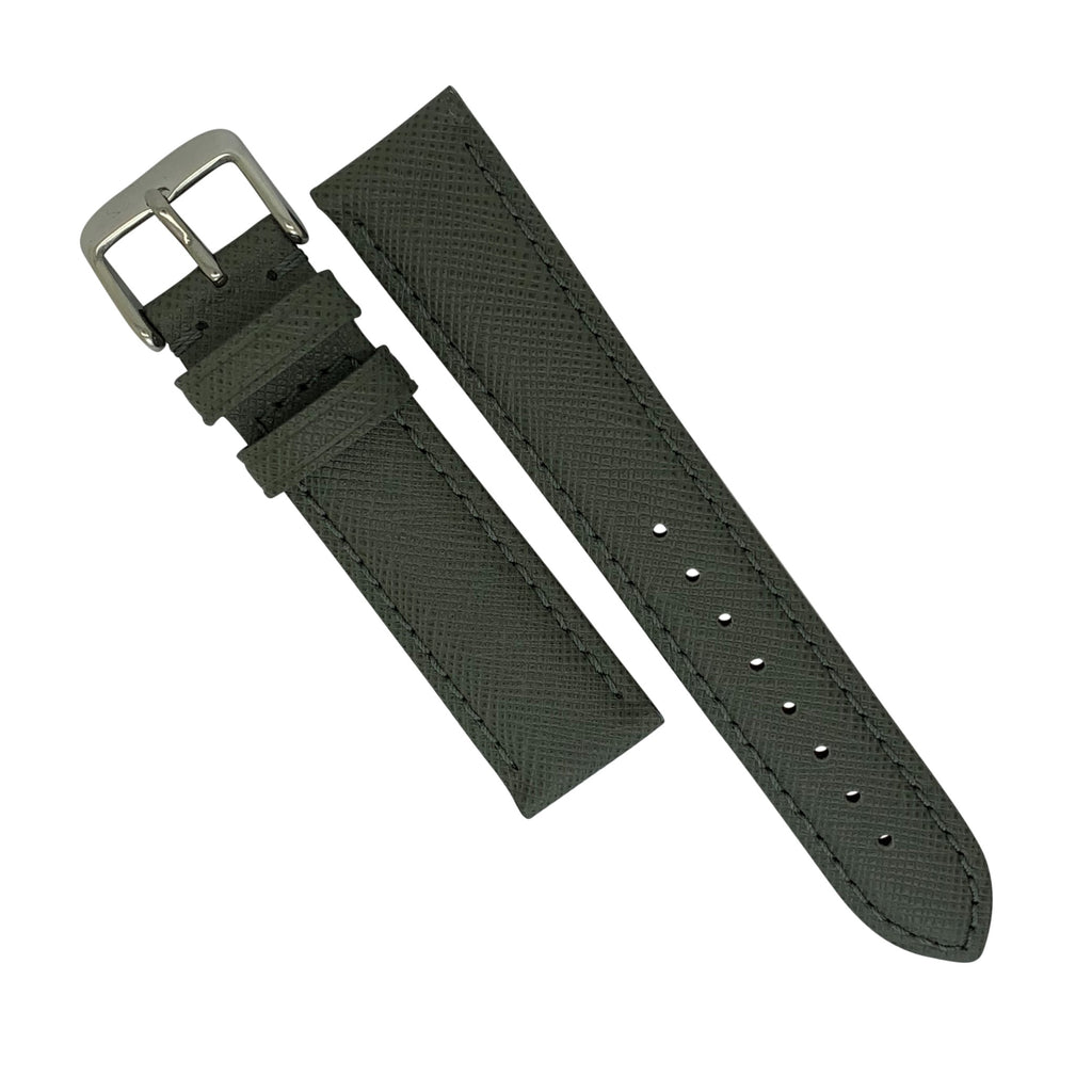 Premium Saffiano Leather Strap in Grey (22mm) - Nomad watch Works