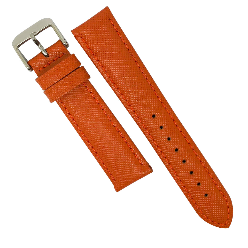 Premium Saffiano Leather Strap in Orange (20mm) - Nomad watch Works