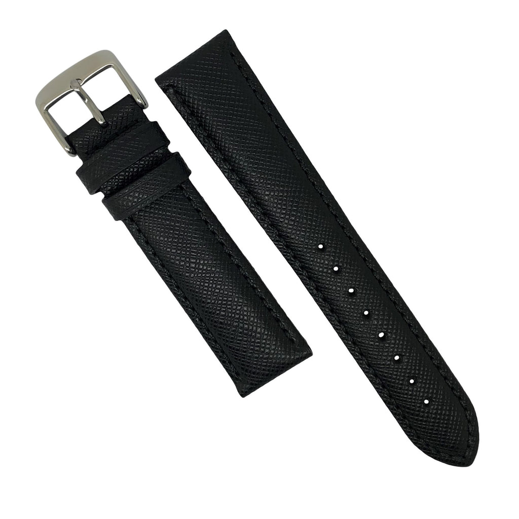 Premium Saffiano Leather Strap in Black (22mm) - Nomad watch Works