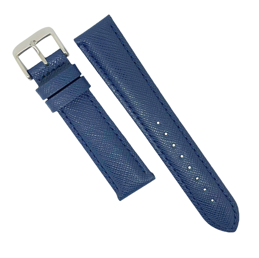 Premium Saffiano Leather Strap in Navy (18mm) - Nomad watch Works