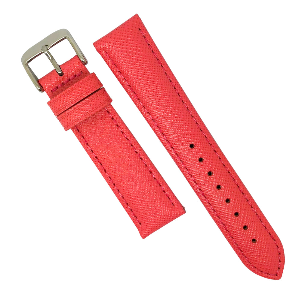 Premium Saffiano Leather Strap in Pink (18mm) - Nomad watch Works