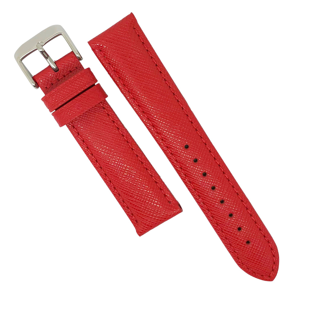 Premium Saffiano Leather Strap in Red (18mm) - Nomad watch Works