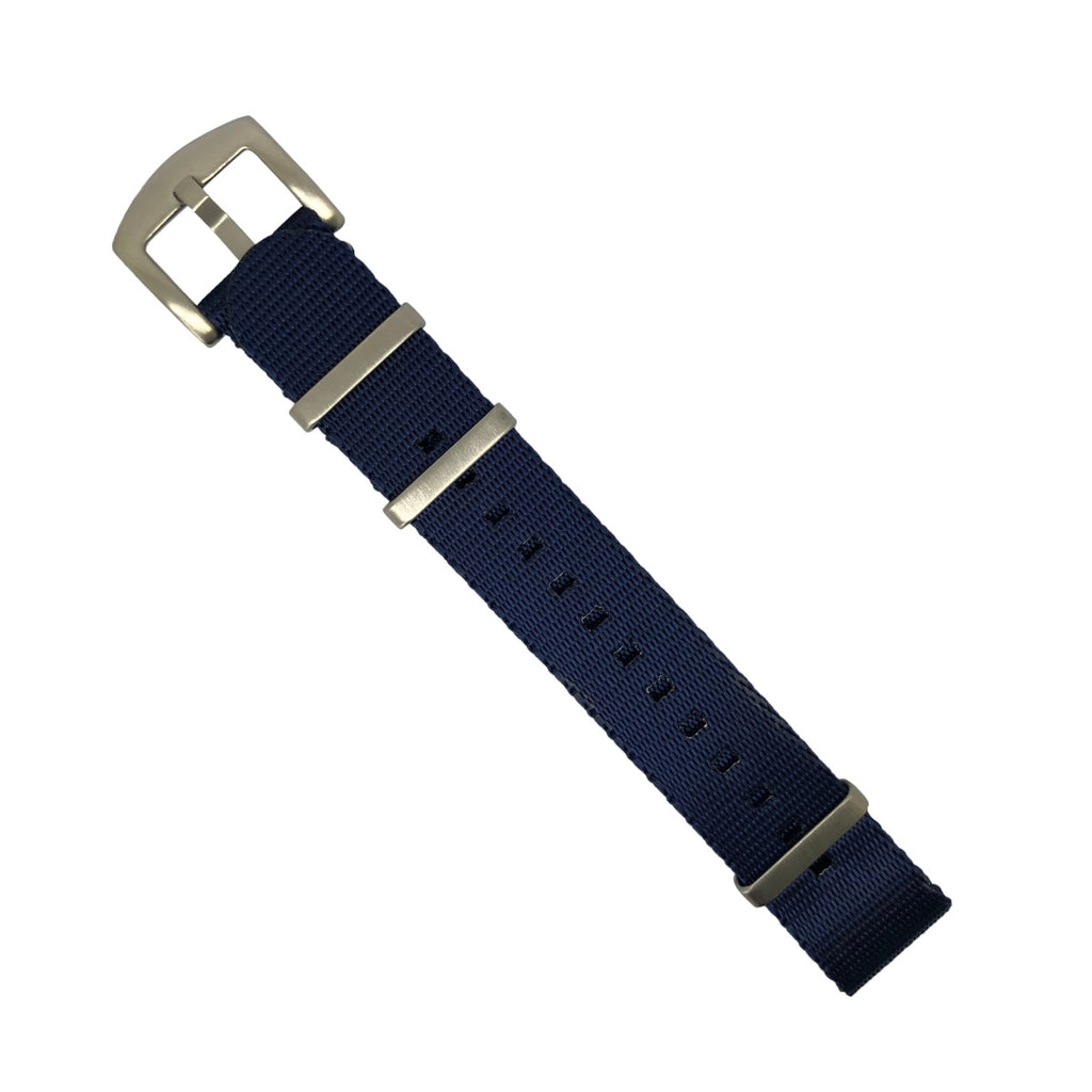 Seat Belt Nato Strap in Navy with Brushed Silver Buckle (22mm)