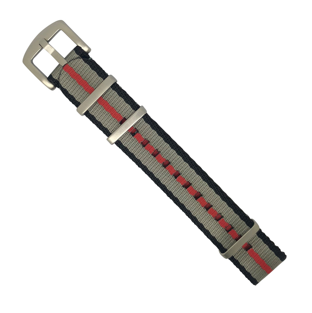 Seat Belt Nato Strap in Black Grey Red with Brushed Silver Buckle (22mm)