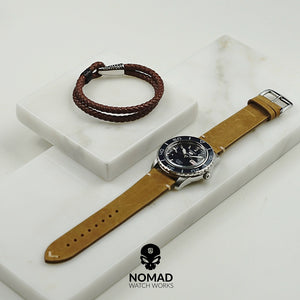 Premium Vintage Calf Leather Watch Strap in Tan (22mm) - Nomad watch Works